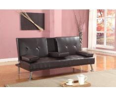 Stile Futon, venduto con comodi comodini, in ecopelle, per letto o divano, colore: marrone cioccolato