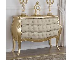 Simone Guarracino Como Brilliant Stile Barocco Francese cassettone bombato Foglia Oro Ecopelle Champagne Bottoni e pomelli Crystal SW