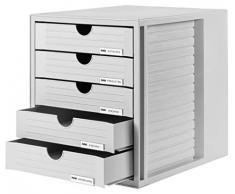 Cassettiera portadocumenti HAN SYSTEMBOX – design accattivante per documenti fino al formato C4, 5 cassetti chiusi, grigio chiaro, 1450-11
