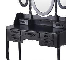 Anaelle Panana toletta Cassettiera in MDF con sgabello, 7 cassetti e 3 specchi ovale per camera, Dimensione: 89 * 39 * 143 cm, peso: 21 kg, Nero