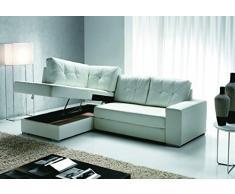 divano letto angolare eco pelle bianco a contenitore