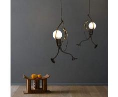 DAXGD Lampada a sospensione Ferro, Plafoniere Vintage per i bambini Camera da letto dei bambini, E27, lampadina non inclusa Altezza: 66 cm