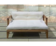 VivereZen - Divano Letto Futon Edera Struttura Naturale con futon cotone rilavorato 14 cm