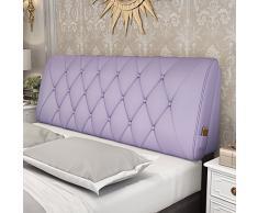 GXY Cuscino Comodino Doppio Tatami in Pelle Cuscino Morbido Cuscino Grande Coprisedia Posteriore Copriletto Semplice Moderno Cuscino (Colore : Purple, Dimensioni : 200x10x58cm)
