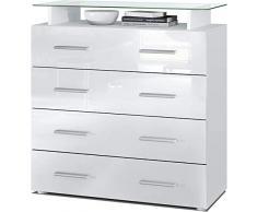 ELB Cassettiera Design con mensola in Vetro, 4 cassetti Disponibile in Vari Colori. Stay (Bianco)