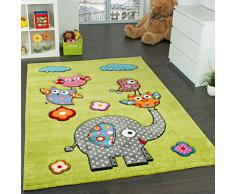 Tappeto Per Bambini Con Elefante Gufi Fiori Amici Animali Verde Rosso Grigio Blu, Dimensione:80x150 cm