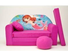 Pro Cosmo H4-Divano Letto futon con Pouf/poggiapiedi/Cuscino, in Tessuto, Colore: Rosa, 168 x 98 x 60 cm, Cotone