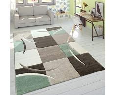 Designer Tappeto Moderno Taglio Sagomato Colori Pastello con Motivo A Quadri in Beige Verde, Dimensione:60x110 cm