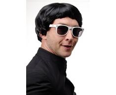 WIG ME UP ® - Parrucca Carnevale Nero Taglio alla Beatles Valletto Mod Gran Bretagna Pop Uomo Donna 1496-P103