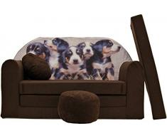Pro Cosmo K7, divano letto futon con pouf/poggiapiedi/cuscino, in tessuto, per bambini, 168 x 98 x 60 cm, marrone
