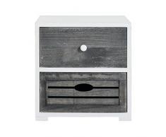 Rebecca Mobili Comodino shabby da camera, mobile bagno con 2 cassetti, legno paulownia, bianco grigio - Misure: 36 x 35 x 24 cm cm (HxLxP) - Art. RE4600