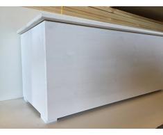 Amico Legno CLI60B Cassapanca con Cerniera Interna 60, Legno, Bianco, 64x44x44 cm