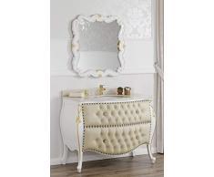 Como cassettone lavabo bombato e specchio stile Barocco Decapé avorio particolari foglia oro marmo crema ecopelle champagne bottoni pomelli Swarovski