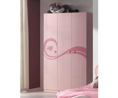 Vipack LIZKL13 Lizzy-Armadio a 3 ante, in MDF, colore: rosa laccato, 200 x 120 x 57,5 cm