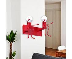 SODIAL Creative Cartoon Little People Lampade da parete a LED per soggiorno Lampada da comodino in metallo a doppia testa da parete per bambini Illuminazione per interni Rosso
