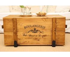 Uncle Joe's, cassapanca Boulangerie, tavolino da salotto in stile vintage shabby chic, in legno massiccio marrone con vano portaoggetti e coperchio, scatola in legno