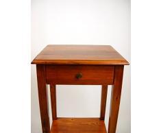Comodino in stile arte povera,comodino in legno massello di abete con gambe a spillo colore noce mb11.Dimensioni max: Larghezza 39cm,profondità 35cm,altezza 69,5cm.