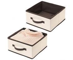 mDesign Set da 2 Capienti scatole per armadi in Tessuto - Organizer Armadio, cassetti o Ripiani con Maniglia Frontale - Scatole Porta Oggetti Aperte per Indumenti - Crema e Marrone