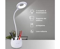 MINLUK Lampada da Scrivania LED Protezione Degli Occhi, Luce Notturna LED, Lampade da Tavolo con 3 Modalità di Illuminazione, Controllo Tattile, Dimmerabile, USB Ricaricabile