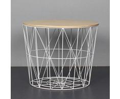 SCHS Nordic Ins Wind Minimalista Tavolino in Ferro battuto Tavolino Piccolo Tavolino Rotondo Comodino Angolare Cestino portaoggetti, Grande 50 cm
