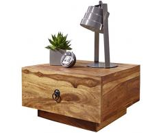 Wohnling Sheesham Comodino legno massiccio, 40 x 40 x 25 cm