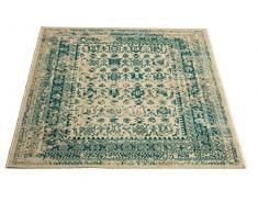 Aspetto Isfahan Distressed/vintage/orientale tradizionale bordato, tappeto in polipropilene, blu, 120 x 170 cm