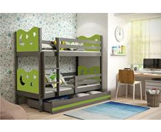 Letto a castello MIKO, lettino per bambini con ampio cassettone, cameretta per ragazzi, materassi in spugna GRATIS! (Verde, 160x80)