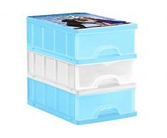 OKT Disney Frozen Cassettiera con Cassetti A5, Plastica, Azzurro, 25 x 18 x 25 cm, 3 Pezzi