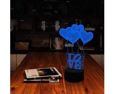 XIAOXINYUAN Creative 3D Love Heart Balloon Lampada da Comodino A LED Colorata Comodino USB Sleep Nightlight Coppia Regalo Home Decor