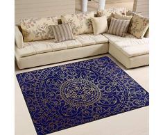 DEZIRO Orientale Blu e Oro Hippie Mandala Doormat Outdoor Tappeto Tappeto tappetini Antiscivolo Scarpe Raschietto Home DEC, Poliestere, 1, 63 x 48 inch