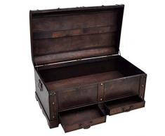 Casella di legno vintage retrò fatto a mano antico scrigno del tesoro scatola di immagazzinaggio cassapanca vintage in legno organizzatore scatola