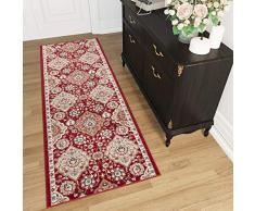 TAPISO Tappeto Passatoia Per Corridoio Orientale Colezione Dubai - Colore Rosso Crema Motivo Tradizionale Persiano - Migliore Qualità - Diverse Misure S-XXXL 80 x 200 cm