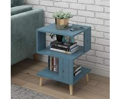 Scaffale quadrato 3 livelli creativo e unico con tavolino laterale e ripiano portaoggetti, tavolino per il divano, scaffale con ripiano basso per arredo camera da letto tavolino da salotto con tavolin