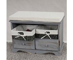 Serie vintage panca cassettiera con 2 ceste e 2 cassetti legno di paulonia 33x62x42cm ~ grigio