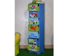 Antyki24 Camera dei Bambini comò a 7 cassetti Armadio Storage Ragazzi Giocattoli Veicoli Aerei
