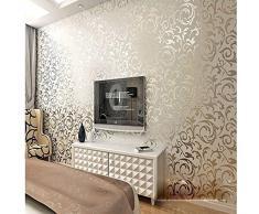 KeTian, rotolo di carta da parati con dettaglio di moderno e lussuoso vittoriano damascato strutturato in rilievo, per soggiorno, camera da letto, sfondo tv, in tessuto non tessuto, 0,53 m x 10 m = 5,3 m², Gray&Silver, 0.53m