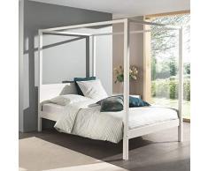 Alfred & Compagnie - Vadim, letto a baldacchino in pino 140 x 200 cm, colore: bianco