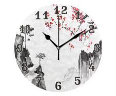 funnyy, Orologio da Parete Rotondo Giapponese Zen Sakura Giapponese, in Acrilico, Silenzioso, Non ticchettante, per Camera da Letto, Soggiorno, Scuola, Decorazione per la casa