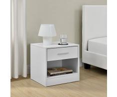 [en.casa] Comodino da letto elegante bianco 1 x cassetto 1 x mensola