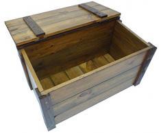Baule legno noce marrone panchetta contenitore cassapanca con coperchio porta legna tutto giocattoli