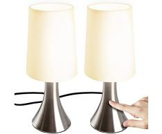 Jago® Lampada da Comodino - Set da 2, a Touch, 3 Livelli di Luce Notturna, E14, Max 60 W o LED Dimmerabile, CEE: A++ a E - Lampada da Tavolo, a Cilindro, a Controllo Tattile, Camera da Letto