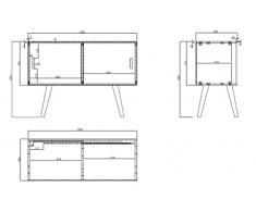 AC Design Furniture 60602 cassettiera Mariela, 2 sportelli, 100 x 38 x 69,5 cm, legno, bianco