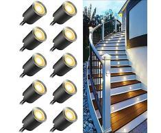 KIGA Mini Faretti Incasso,3000K Luci di Coperta LED,IP67 impermeabile 0.6W esterno per patio cucina giardino passerella armadio ponte in legno, faretti da incasso a LED a pavimento (3000K, 10Pcs)