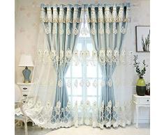 Tende da ricamo a 2 pannelli oscuranti in rilievo per la camera da letto, tende isolate termicamente con un filato di stoffa, passacavo superiore, tende classiche di lusso(Color:blue,Size:4.1 * 2.7M)