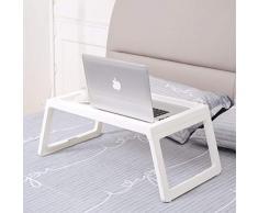 Rainbean letto tavolo vassoio, vassoio per la colazione pieghevole per bambini che mangia, laptop supporto scrivania per divano, portatile da campeggio con gambe Floding leggero in PP, 55,9 cm, bianco