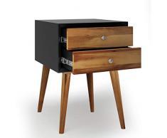 COSTWAY Comodino con 2 Cassetti in Stile Rustico, Tavolino Divano in Legno Massiccio, Cassettiera Multifunzione, 40 x 40 x 59 cm (Nero e Marrone)