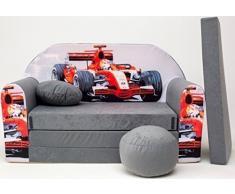 Pro Cosmo A22 bambini divano letto futon con pouf/poggiapiedi/cuscino, tessuto, grigio, 168 x 98 x 60 cm