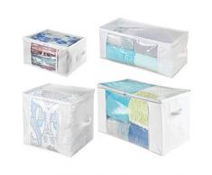 mDesign Set da 4 Scatole per armadi con cerniere e finestre - Scatole contenitori in plastica e fibra sintetica di misure diverse - Scatole per vestiti, lenzuola, accessori - bianco e trasparente