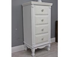 Cassettiera armadio Patterned cottage-style comodino legno stile barocco shabby bianco beige
