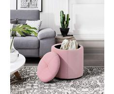 Furnish, 1 pouf ottomano contenitore rotondo imbottito poggiapiedi in lino pouf sedia letto panca scarpe bambini scatola giocattoli sgabello mungitura sgabello rosa
